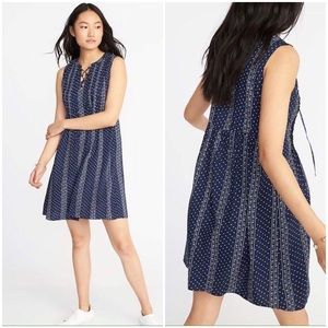 Old Navy Pintuck Floral Lace-Up Swing Dress